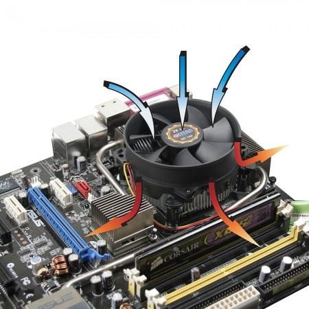 Kompatibel mit der Intel LGA 755 Plattform. Radiale Kühlrippen zur Zentralisierung des Luftstroms und der Zirkulation zur Verbesserung des Kühlkörpers.