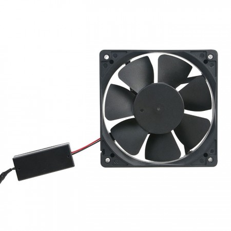 Combined AC with DC advantages. This fan runs on DC voltages but with an AC supply.