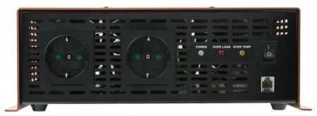 The rear of power inverter is equipped with LED indicator to show the information of power on/off, overload, and over temperature. The rear panel view of inverter shows the inverter's cooling fan, AC output socket, and fuse.