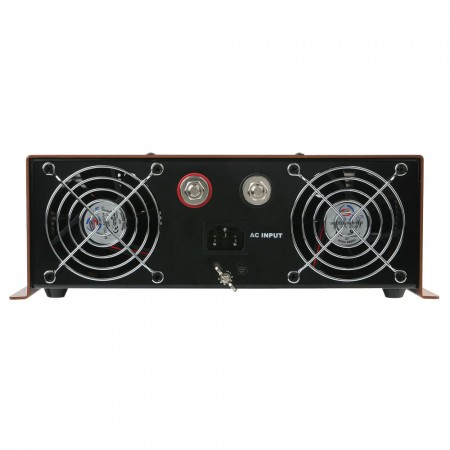 The front of inverter panel is equipped with AC input, batteray terminals (Red for positive, Black for negative), and two TITAN cooling fan with ventilation window grilles.