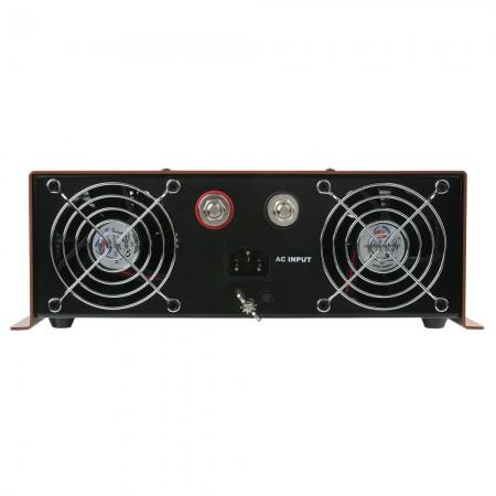 Die Vorderseite des Wechselrichterfelds ist mit einem Wechselstromeingang, Batterieanschlüssen (rot für positiv, schwarz für negativ) und zwei TITAN-Lüftern mit Lüftungsgittern ausgestattet.