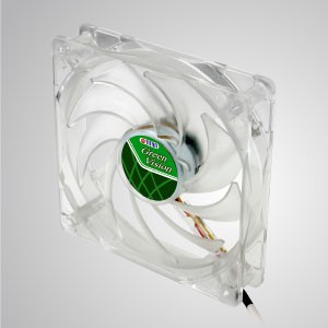 12V DC 120mm kukri Silent Transparent Green Cooling Fan with 9-blades - With transparent green frame and 120mm silent fan with 9-blades, creating great cooling performance