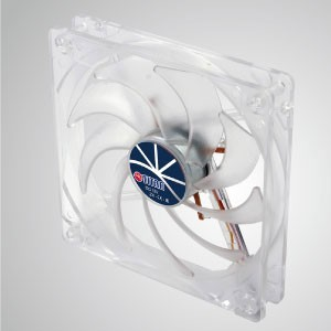 12V DC 120mm LED Transparent Kukri Silent Cooling Fan with 9-blades - With transparent frame and 120mm silent 9-blades fan, creating a sparkling but low profile cooling performance.