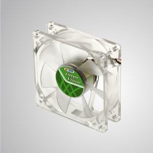 Ventilador de refrigeración verde transparente silencioso Kukri de 12 V CC 80 mm con 7 palas - Con marco verde transparente y ventilador silencioso de 80 mm con 9 palas, lo que crea un excelente rendimiento de enfriamiento