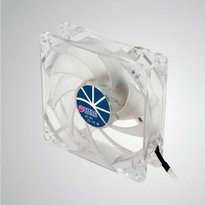 9ブレード付き12VDC 92mmLED透明Kukriサイレント冷却ファン - 透明なフレームと92mmのサイレント9ブレードファンにより、きらめくが目立たない冷却性能を発揮します