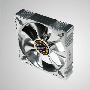 Ventilador de enfriamiento de marco de aluminio de 12V DC 120mm con protección electrochapada de EMI / FRI - Hecho de ventilador de enfriamiento de marco de aluminio de 120 mm, tiene una disipación de calor más potente y una construcción robusta.