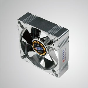 12V DC 80mm Aluminum Frame Cooling Fan with Electro-Plated from EMI / FRI Protection - Made 80mm aluminum frame cooling fan, it has more powerful heat dissipation and robust construction.