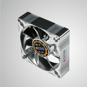 12V DC 92mm Aluminum Frame Cooling Fan with Electro-Plated from EMI / FRI Protection - Made 92mm aluminum frame cooling fan, it has more powerful heat dissipation and robust construction.