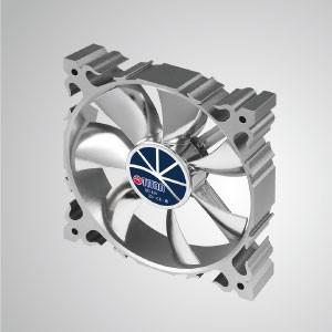 Ventilador silencioso de enfriamiento con marco de aluminio de 12 V CC y 120 mm con 7 aspas / marco plateado - Hecho de ventilador de enfriamiento de marco de aluminio de 120 mm, tiene una disipación de calor más potente y una construcción robusta.