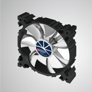 Бесшумный вентилятор с алюминиевой рамой, 12 В постоянного тока, 120 мм, 7 лопастей / черная рамка - Изготовлен из 120-миллиметрового охлаждающего вентилятора с алюминиевым каркасом, имеет более мощный отвод тепла и прочную конструкцию.