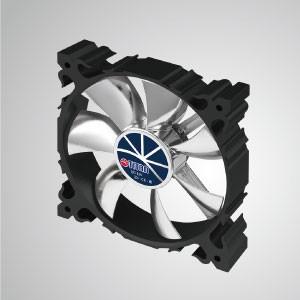 12V DC 120mm Aluminium Frame Cooling Silent Fan mit 7 Flügeln / schwarzer Rahmen - Der 120-mm-Aluminium-Lüfter mit schwarzem Rahmen hat eine stärkere Wärmeableitung und eine robuste Konstruktion.