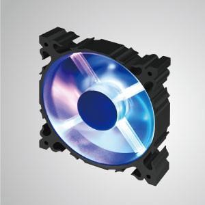 Ventilador silencioso de enfriamiento con marco de aluminio de 12V CC y 120 mm con LED / 7 aspas - Rainbow Life Color - Hecho de ventilador de enfriamiento de marco de aluminio LED de 120 mm con 7 palas, tiene una disipación de calor más potente y una construcción robusta.