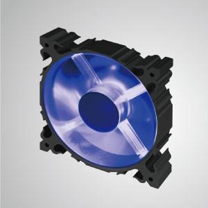 12V DC 120mm Aluminium Frame Cooling Silent Fan mit LED / 7-Blatt / Blau - Der 120-mm-LED-Aluminiumrahmen-Lüfter mit 7 Flügeln hat eine stärkere Wärmeableitung und eine robuste Konstruktion.