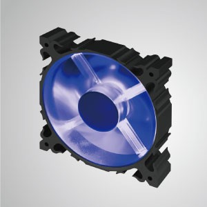 12V DC 120mm 알루미늄 프레임 냉각 팬(LED 포함) / 7-블레이드 / 블루 - 120mm LED 알루미늄 프레임 쿨링팬에 7개의 블레이드가 장착되어 더욱 강력한 방열성과 견고한 구조를 자랑합니다.