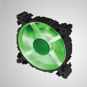 12V DC 120mm 알루미늄 프레임 냉각 팬(LED 포함) / 7-블레이드 / 그린 - 120mm LED 알루미늄 프레임 쿨링팬에 7개의 블레이드가 장착되어 더욱 강력한 방열성과 견고한 구조를 자랑합니다.