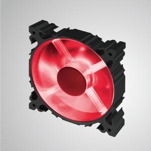 Ventilador silencioso de enfriamiento de marco de aluminio de 12 V CC 120 mm con LED / 7 aspas / rojo - Hecho de ventilador de enfriamiento de marco de aluminio LED de 120 mm con 7 palas, tiene una disipación de calor más potente y una construcción robusta.