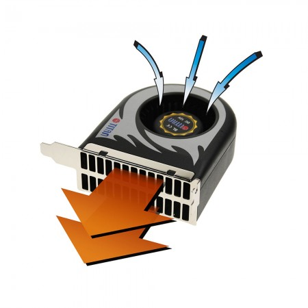 The airflow illustration of system blower cooling fan