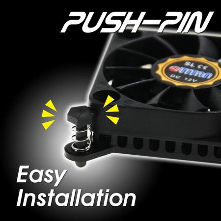 貼心Push-Pin扣具設計,省力簡易安裝,一次就上手。