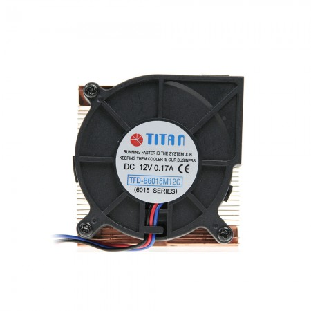 CPU air cooler with 60x 60 x15 mm round fan and copper soldering fines