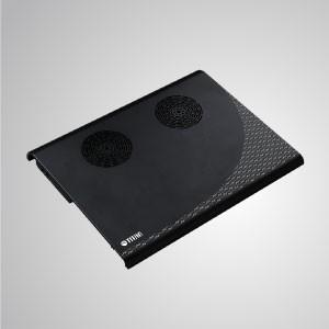 """5 V CC 10 """"- 15"""" Enfriador de portátil para computadora portátil Almohadilla de aluminio de enfriamiento con 4 USB portátiles alimentados (negro / plateado) - Equipado con un ventilador doble de 70 mm y una superficie de aluminio de gran tamaño, puede acelerar eficazmente el flujo de aire para transferir calor."""