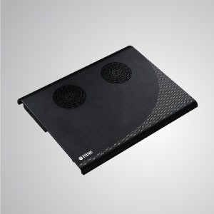 "5V DC 10"" - 15"" Laptop Notebook Cooler Cooling Alumiunum Pad with 4 Portable USB Powered (Black/ Sliver) - Equipped with dual 70mm fan and large-sized aluminum surface, it can effectively accelerate airflow to transfer heat."