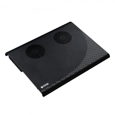 ein großformatiges Aluminium-Laptop-Kühlpad mit zwei 70-mm-Lüftern und Aluminium-Design, das einen starken und leisen Luftstrom zur Verbesserung des Kühlkörpers bietet