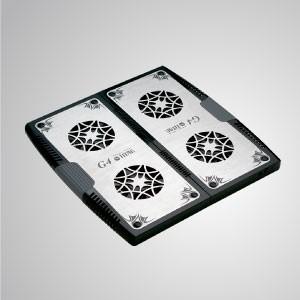 """5V DC 12 """"- 17"""" Portátil portátil Almohadilla de aluminio extensible enfriador con ventilador de enfriamiento de 4x 70 mm - Equipado con un ventilador doble de 70 mm y una superficie de aluminio de gran tamaño, puede acelerar eficazmente el flujo de aire para transferir calor."""