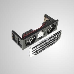 """Enfriador de kit de enfriamiento de montaje HDD de 12 V CC y 5,25 """"con ventilador de enfriamiento doble de 40 mm - Ventiladores de enfriamiento silenciosos integrados de 40 mm, que pueden reducir efectivamente la temperatura del disco duro. Protector y filtro EMI incluidos, mantienen la estabilidad y confiabilidad del sistema y mejoran la eficiencia operativa"""