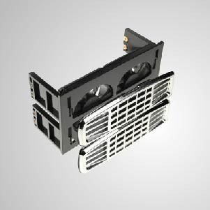 """12V DC 2 * 5,25"""" HDD-Montage-Kühlkit-Kühler mit zwei 60-mm-Lüftern mit Z-AXIS-Lager - Eingebaute zwei geräuschlose 60-mm-Lüfter, beide mit 2-in-1-Funktion, Systemkühlung und HDD-Kühlung. Es kann die Temperatur der Festplatte effektiv reduzieren. Darüber hinaus, einschließlich EMI-Schutz und -Filter, sorgen Sie für die Systemstabilität und -zuverlässigkeit und verbessern die Betriebseffizienz"""