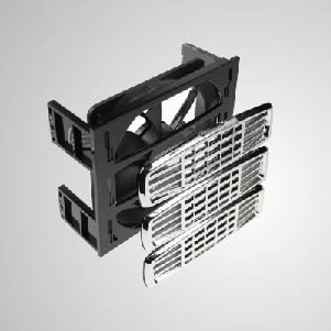 """12V DC 3*5.25"""" HDD Mounting Cooling Kit Cooler with 120mm Cooling Fan with Z-AXIS Bearing - Built-in 120mm silent cooling fans, both has 2 in 1 function, system cooling and HDD cooling. It can effectively reduce the temperature of hard disk. In addition, including EMI protector and filter, maintain system stability and reliability and enhance operation efficiency"""