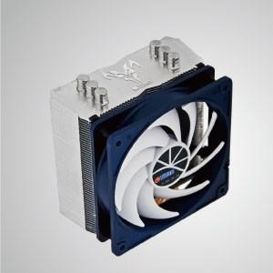 Universal-CPU-Luftkühler mit 3 DC-Heatpipes und 120mm Kukri Silent PWM Lüfter / Wolf Hati / TDP 160W - Ausgestattet mit 3 optimierten U-förmigen Direktkontakt-Heatpipes und einem 120 mm Low-Nose-Lüfter mit PWM-Controller. Es ist in der Lage, die Wärmeableitung durch Maximierung des Luftstroms zu beschleunigen.
