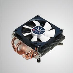 Universal-CPU-Luftkühler im Low-Profile-Design mit 4 DC-Heatpipes und 1,5 HE Höhe / TDP 130 W - Universeller CPU-Kühler mit vier 6-mm-Direktkontakt-Heatpipes und 80-mm-PWM-Lüfter. Extrem flaches Slim-Profil für verschiedene HTPC-Gehäuse und Computergehäuse.