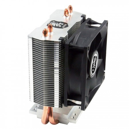 Universal CPU cooler with 2 direct contact heat pipes and 80 mm cooling fan. It is available for mounting systems to equip dual cooling fans.