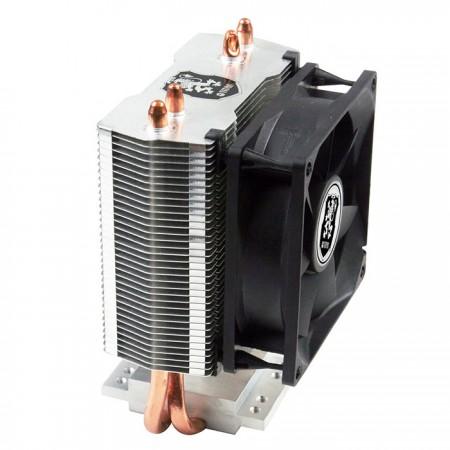Universeller CPU-Kühler mit 2 Direktkontakt-Heatpipes und 80 mm Lüfter. Es steht für Montagesysteme zur Bestückung mit zwei Kühllüftern zur Verfügung.