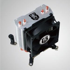 Universal-CPU Luftkühler mit 2 DC Heatpipes und 80mm Lüfter / Montagesystem für zwei Lüfter / TDP 105W - Universeller CPU-Kühler mit 2 Direktkontakt-Heatpipes und 80 mm Lüfter. Es steht für Montagesysteme zur Bestückung mit Doppellüftern zur Verfügung.