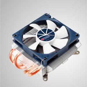 Universal-CPU-Luftkühler im Low-Profile-Design mit 4 DC-Heatpipes und 80-mm-PWM-Lüfter / 46 mm Höhe / TDP 130 W - Universeller CPU-Kühler mit vier 6-mm-Direktkontakt-Heatpipes und 80-mm-PWM-Lüfter. Extrem flaches Slim-Profil für verschiedene HTPC-Gehäuse und Computergehäuse.