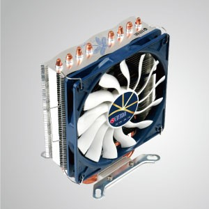 Refroidisseur d'air universel pour processeur avec 4 caloducs CC et ventilateur 120 mm / Dragonfly 4/ TDP 160W - Comprend 4 caloducs à contact direct en forme de U optimisés et un ventilateur de refroidissement silencieux de 120 mm. Il est capable d'accélérer le radiateur par circulation d'air.