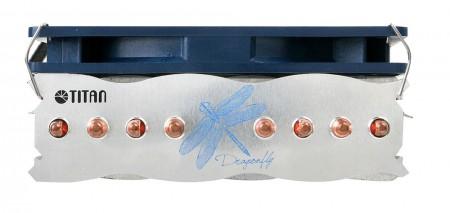 Diseño de enfriador de CPU azul y plateado de libélula de moda.  El enfriador hace que ambos tengan un alto rendimiento de enfriamiento y un estilo único.