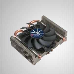Refroidisseur d'air universel pour processeur à profil bas avec 2 caloducs CC et ventilateur de 80 mm/TDP 95W - Doté de 2 caloducs à contact direct optimisés en forme de U et d'un ventilateur à nez bas de 80 mm avec fonction PWM. Il est capable d'accélérer la dissipation de la chaleur en maximisant le flux d'air.