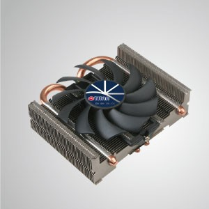 Универсальный низкопрофильный воздушный охладитель ЦП с 2 тепловыми трубками постоянного тока и 80-мм вентилятором / TDP 95 Вт - Оснащен 2 оптимизированными U-образными тепловыми трубками для прямого контакта и 80-миллиметровым малошумным вентилятором с функцией ШИМ. Он способен ускорить отвод тепла за счет увеличения потока воздуха.