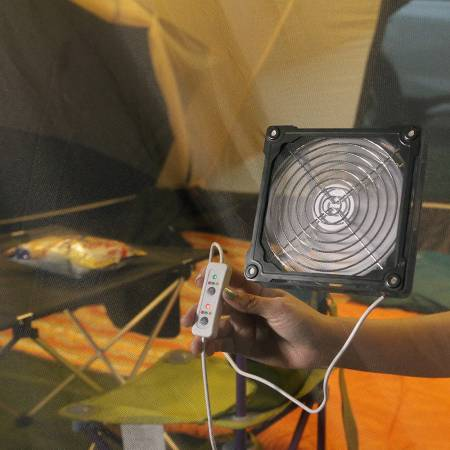 The mobile fan is great for camping tent ventilation.