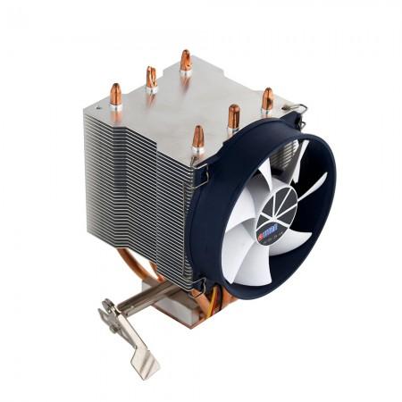 此散熱器採用9公分靜音散熱風扇、高效鋁散熱片與純銅底座,有效增強CPU散熱效能