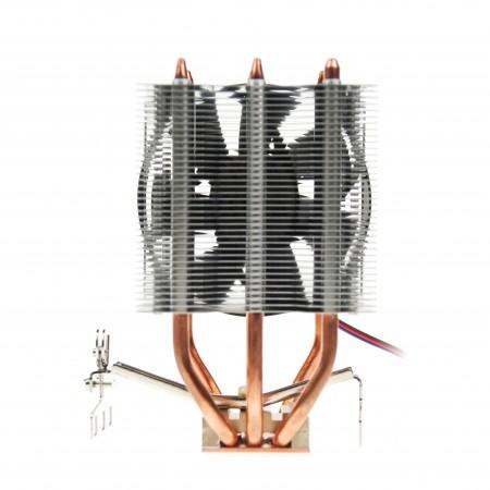 高密度鋁散熱片與純銅底座搭配,大幅提升熱傳導,能為CPU快速散熱