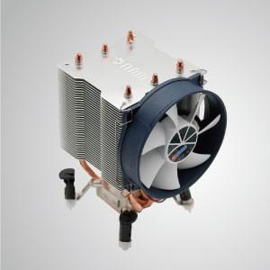 Universal-CPU-Luftkühler mit 3 DC-Heatpipes und 90-mm-PWM-Lüfter / TDP 140W - Universeller CPU-Kühler mit zwei 6-mm-Direktkontakt-Heatpipes und 80-mm-PWM-Lüfter. Extrem flaches Slim-Profil für verschiedene HTPC-Gehäuse und Computergehäuse.