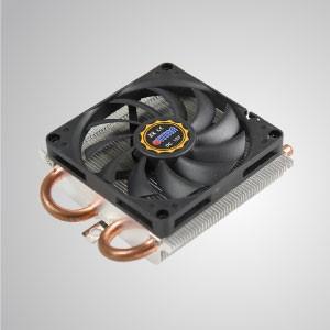 1U / 2U AMD Socket: enfriador de aire de CPU de diseño de perfil bajo con 2 tubos de calor de CC y ventilador de enfriamiento silencioso de 80 mm y base de cobre / TDP 110W - Equipado con un ventilador de enfriamiento silencioso de 80 mm y una base de cobre puro, este enfriador de CPU puede fortalecer significativamente el disipador térmico de la CPU