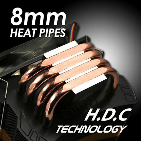 Avec quatre caloducs à contact direct de 8 mm, transférez de manière significative le dissipateur thermique du fonctionnement du processeur, prenant en charge TDP jusqu'à 160W.