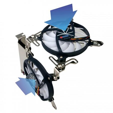 Es kann sich sowohl an den seitlichen als auch an den nach unten gerichteten Luftstrom anpassen und den Luftstrom effektiv zentrieren.
