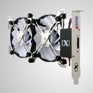 PCIスロット/システムクーラーDIY取り付け用の2つのファンを備えた12VDC調整可能デュアルXホルダー 換気扇 - ユニークなX字型のデュアル冷却ファンホルダーデザインを備えたこのVGAクーラーは、「フリースタイル」を特徴としています。4種類のファン(60、70、80、90mm)を自由に搭載可能