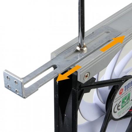 Installez le ventilateur verticalement ou horizontalement à l'aide d'un rack ajustable à 720 °.