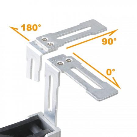 720° 조정 가능한 랙으로 팬을 수직 또는 수평으로 설치하십시오.